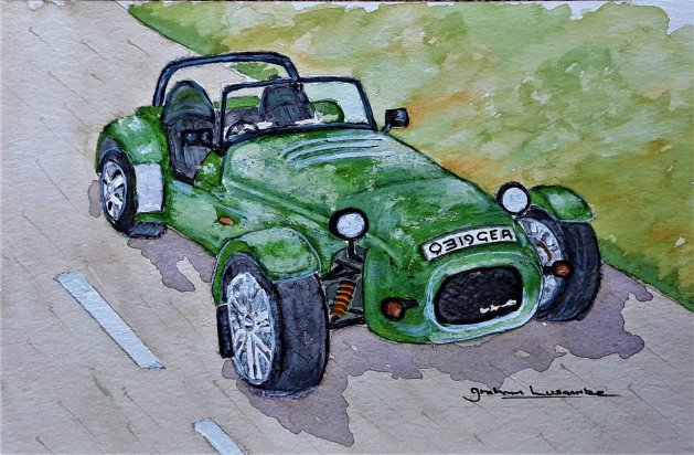 Westfield Sports Car SEI W. Original art by Graham Luscombe