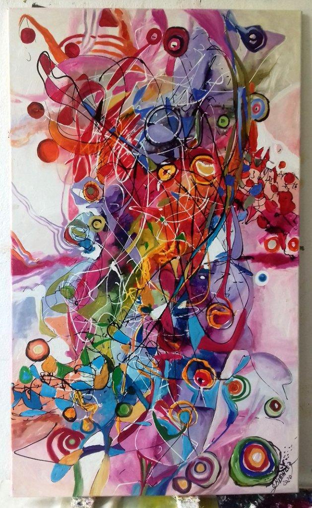 Firicel de primavara, Abstract, original Bissinger. Original art by Elena Bissinger