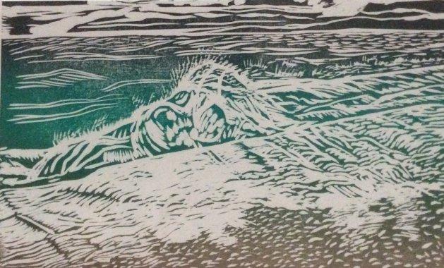 Between Storms. Wood relief. Original art by Allison Murphy