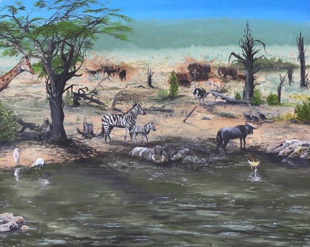 African wildlife. Original art by Janet Blower