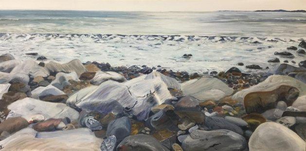Amroth Beach. Original art by Cheryll Hodgson