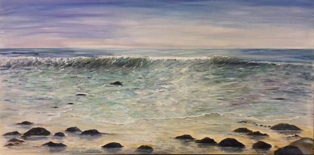 Breaking Welsh Wave. Original art by Cheryll Hodgson