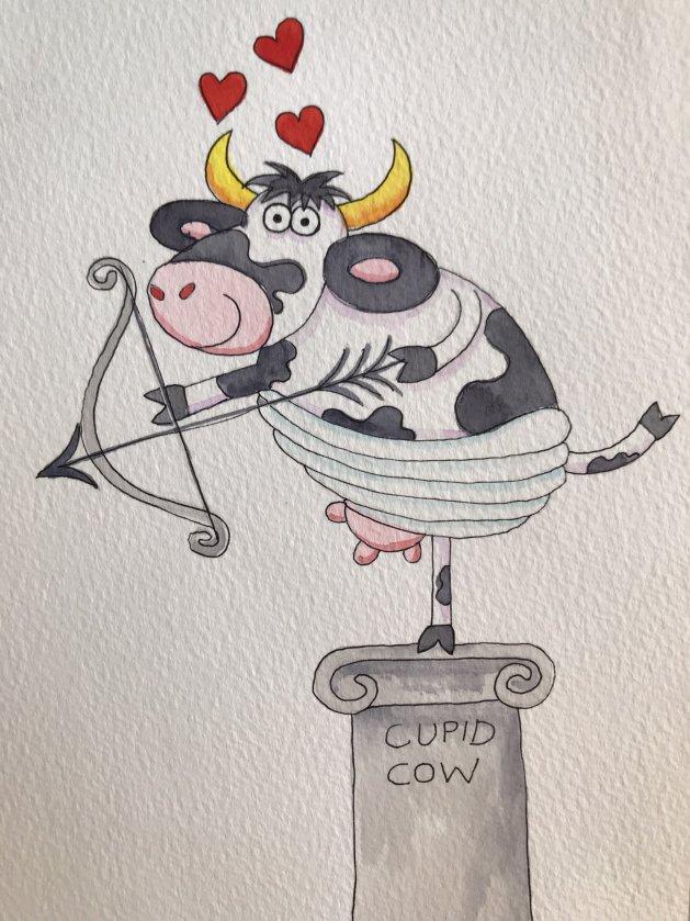 Cupid Cow. Original art by Jane Brookshaw