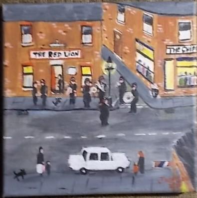 The Sally Army band. Original art by Janice Watson