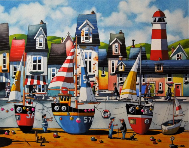 """ The Cornish Life ""  15 x 12. Original art by Paul Kiernan"