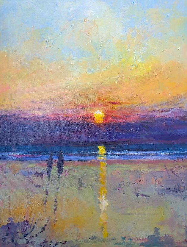 Evening Stroll sunset Original. Original art by Teresa Tanner