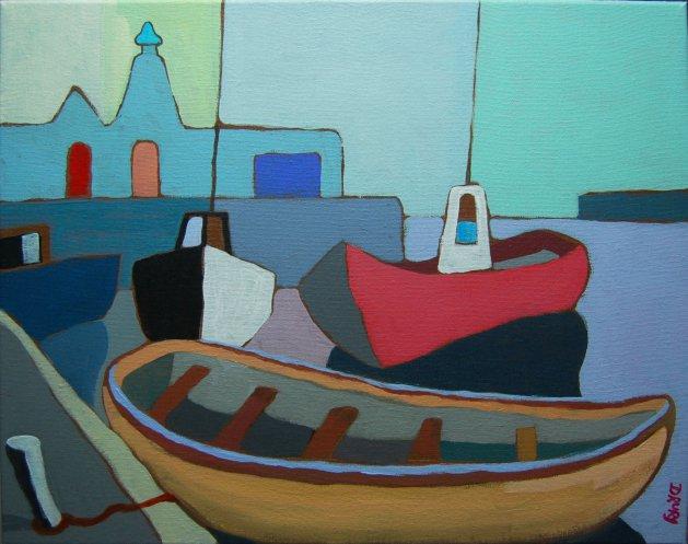 Girvan Harbour. Original art by Randle Drury
