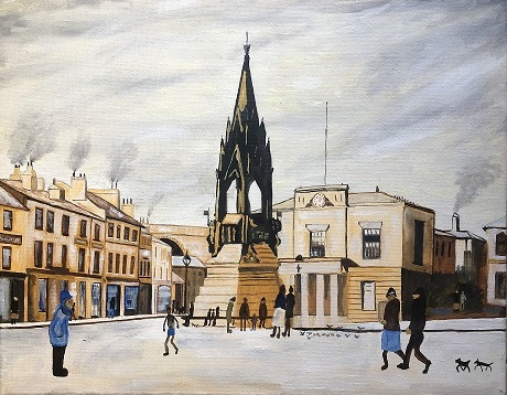 Mansfield in the style of Lowry. Original art by Andy Calladine