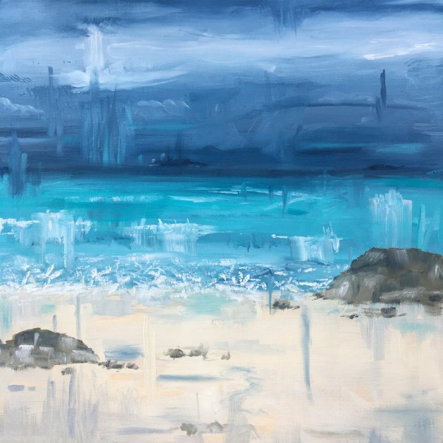 Storm Looming Sennen Cove. Original art by Mair Oliver