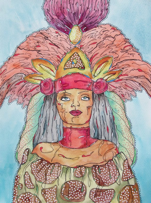 Woman In Feather Headdress. Original art by Beatrice Margaret