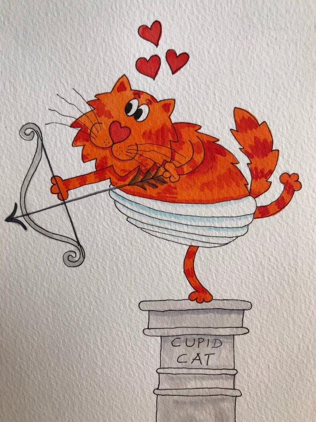 Cupid Cat. Original art by Jane Brookshaw