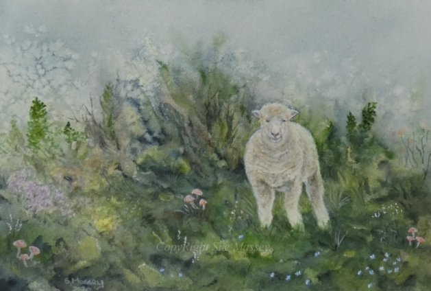 Sheep.. Original art by Sue Massey