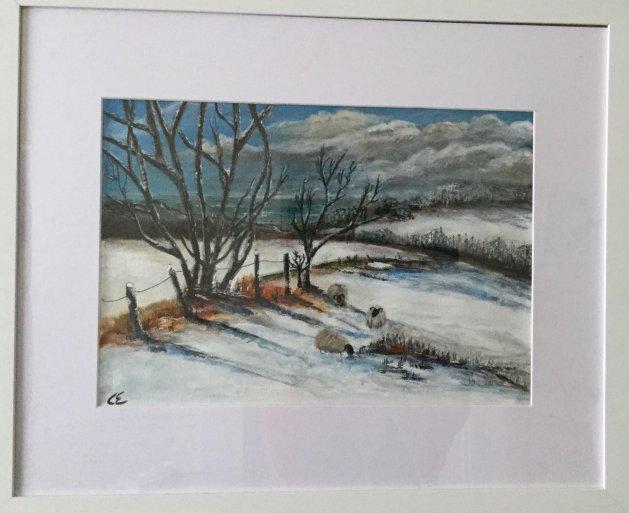 Snow Sheep. Original art by Cheryll Hodgson