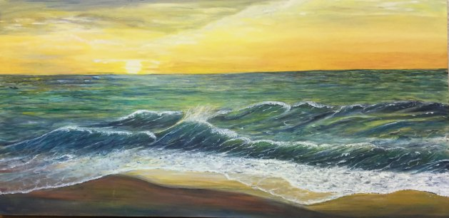 Sunset Sea. Original art by Cheryll Hodgson