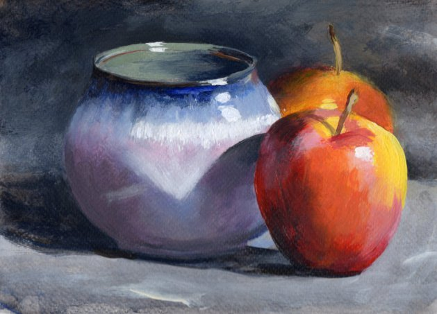 Two Apples and Bowl. Original art by Steve Strode