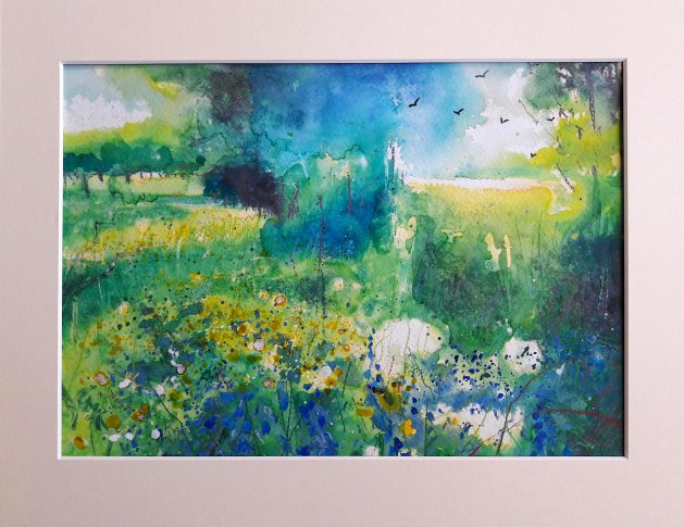 Green Fields & Bluebells Original. Original art by Teresa Tanner