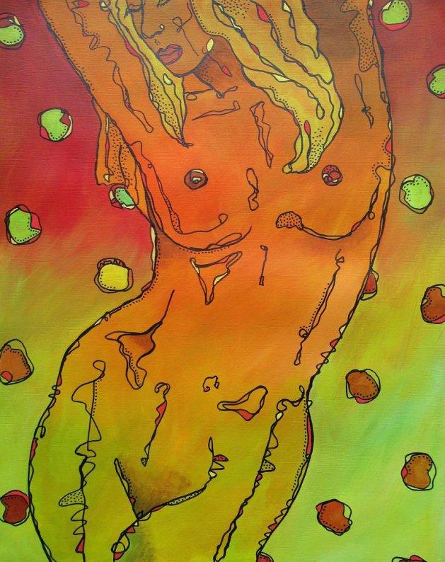 Orange Pose 1. Original art by Beatrice Margaret