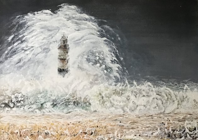 Stormy lighthouse. Original art by Janet Blower