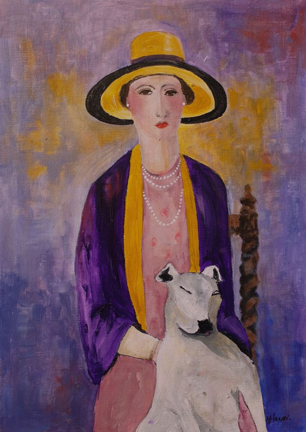 Bloomsbury Woman with dog. Original art by Teresa Tanner