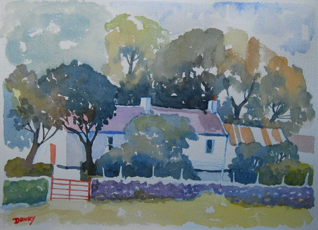 Cottage in the Trees. Original art by Randle Drury