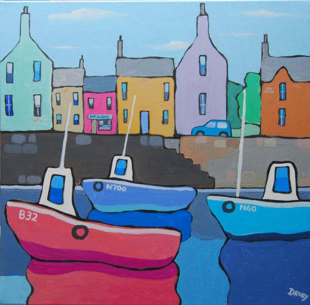 Village harbour. Original art by Randle Drury