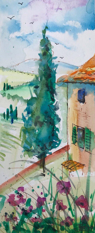 Cyprus Tree. Original art by Jane Brookshaw