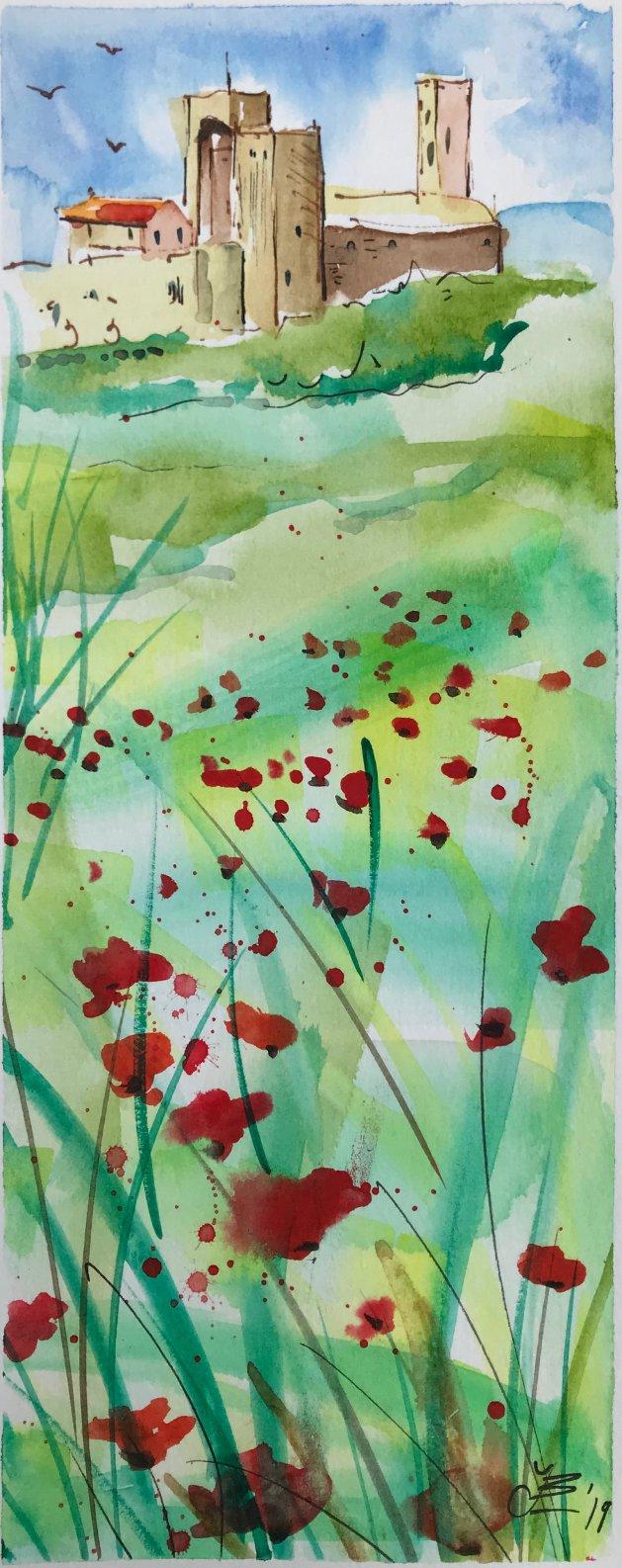 Poppies. Original art by Jane Brookshaw