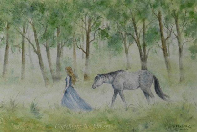Misty Morning Stroll.. Original art by Sue Massey