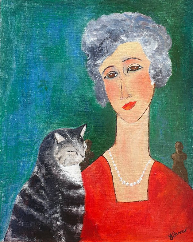 Grey Haired Woman & Tabby Cat. Original art by Teresa Tanner