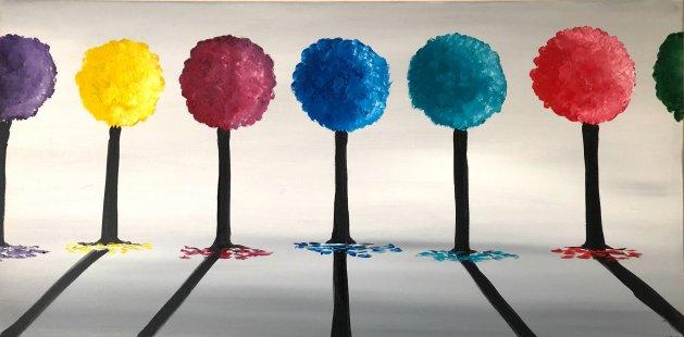 Colourful Round Trees. Original art by Aisha Haider
