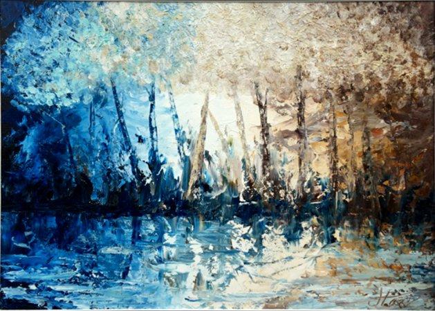 Twilight through trees. Original art by Jennifer Loxton