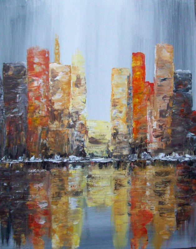 city reflections. Original art by Patricia Richards