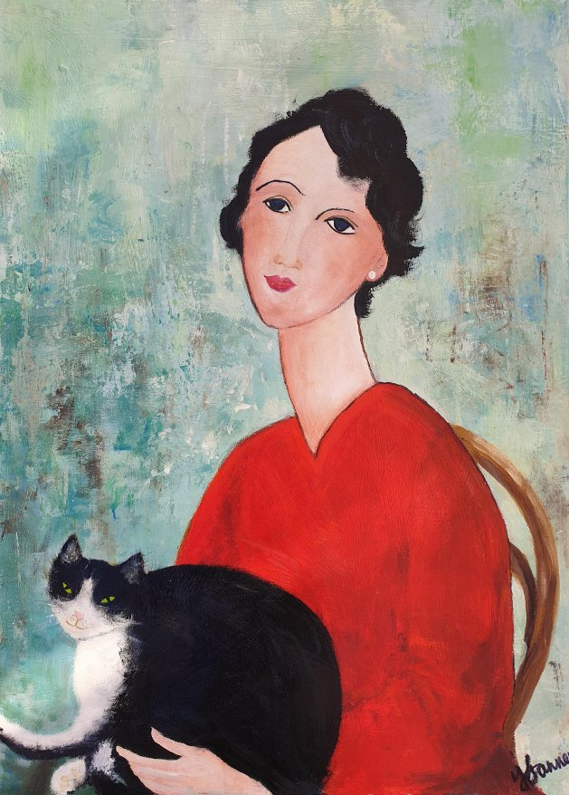 Woman with Mr Tips the cat. Original art by Teresa Tanner
