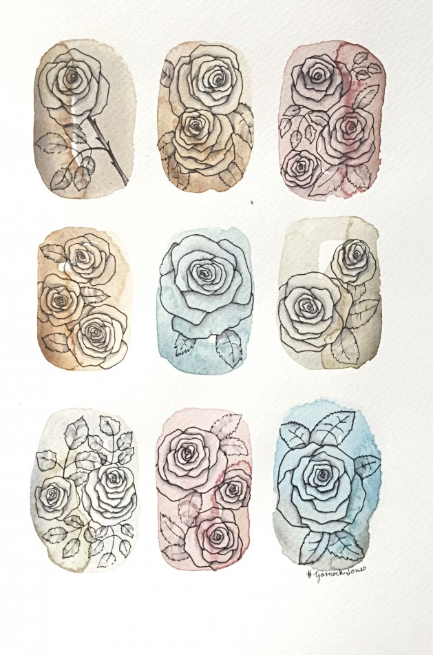 Antique Roses. Original art by Hilary Garnock-Jones