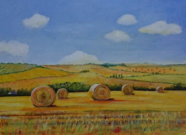 Straw bales. Original art by John Walker