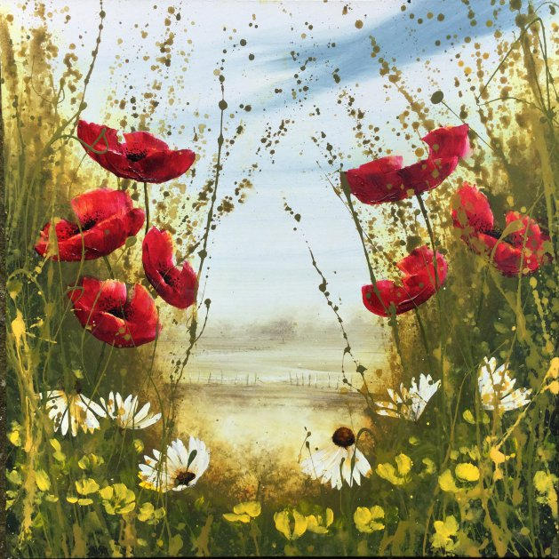 Poppy field and Daisies. Original art by C.A. Wood