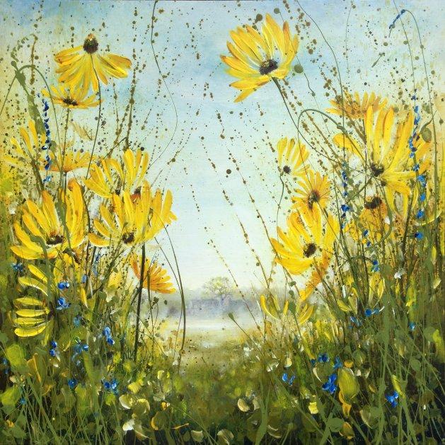 Yellow Daisy Meadow. Original art by C.A. Wood