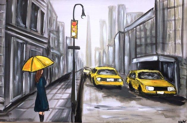 Yellow Umbrella 2. Original art by Aisha Haider