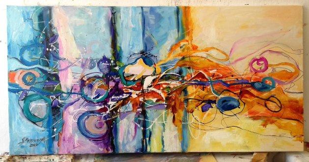 Abstract Aventuri la Podul Catanelor. Original art by Elena Bissinger