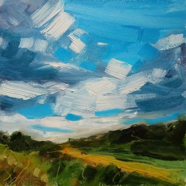Clouds Over Rocher Vale. Original art by Lynn Marie Hall