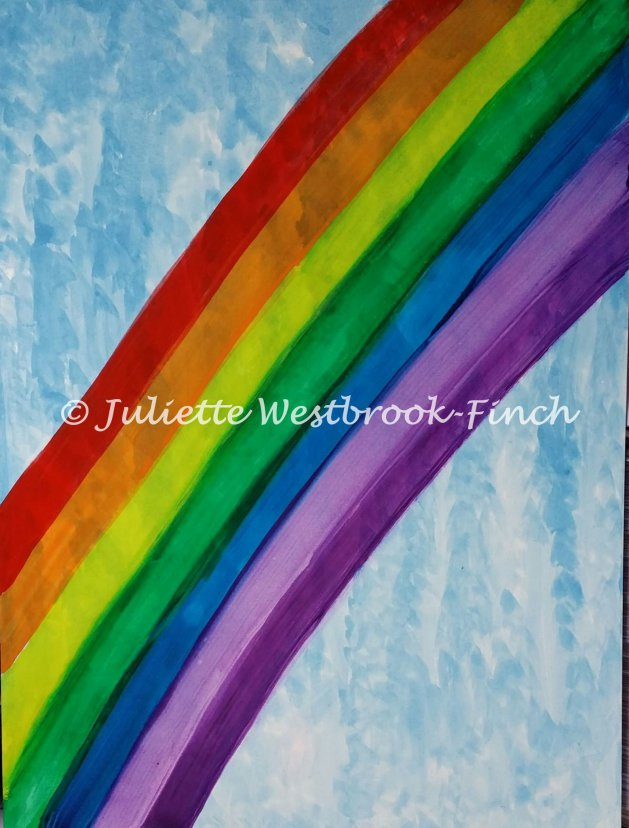 Falling Water with 7 Colours from the Sky. Original art by Juliette Westbrook-Finch