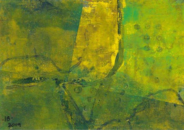 Field Patterns - monotype. Original art by Ian Bertram
