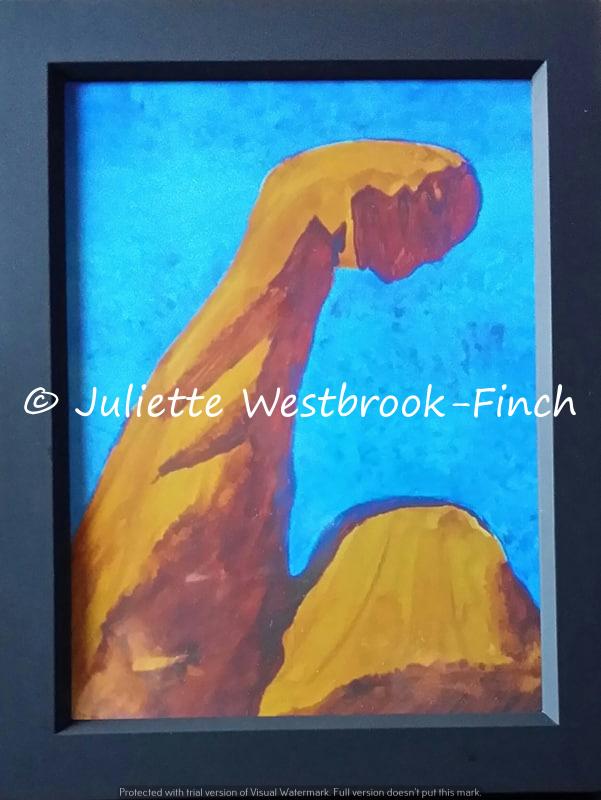 Muscles Like Mountains (Talking Frame). Original art by Juliette Westbrook-Finch