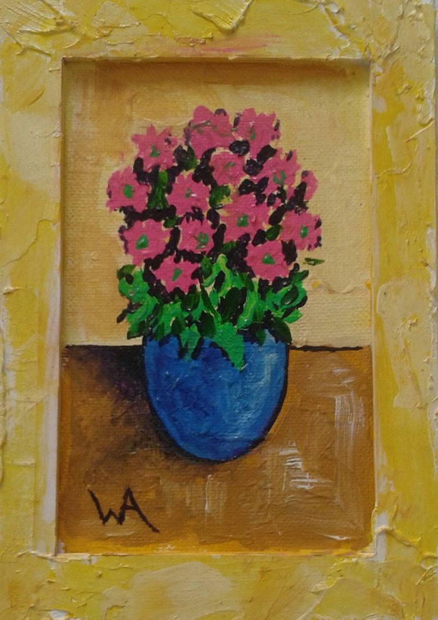 Flowers in a yellow frame. Original art by Warren Armstrong