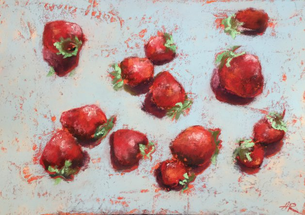 STRAWBERRIES ON BLUE.. Original art by Alena Rumak