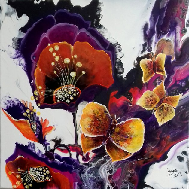 Butterflies and Anemones. Original art by Mariana Oros