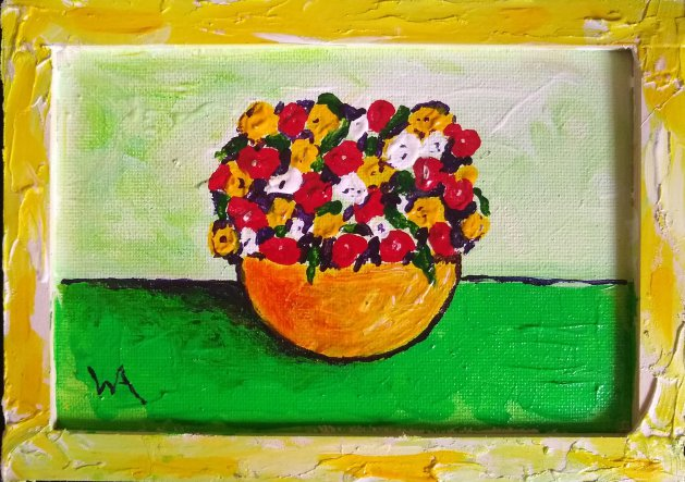 Flowers of red, white and yellow. Original art by Warren Armstrong