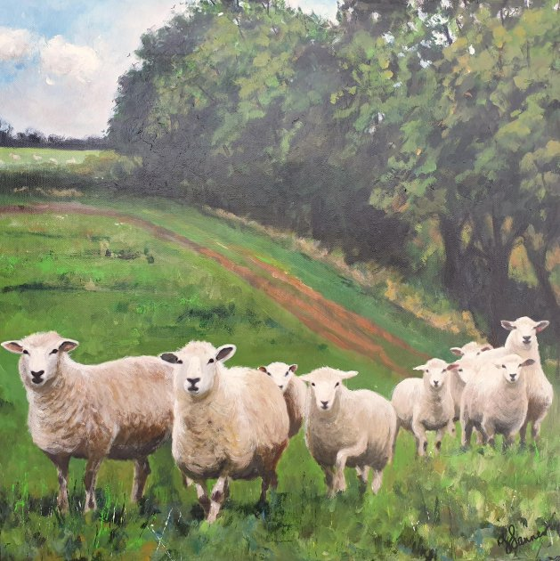 Sheep on the Move. Original art by Teresa Tanner