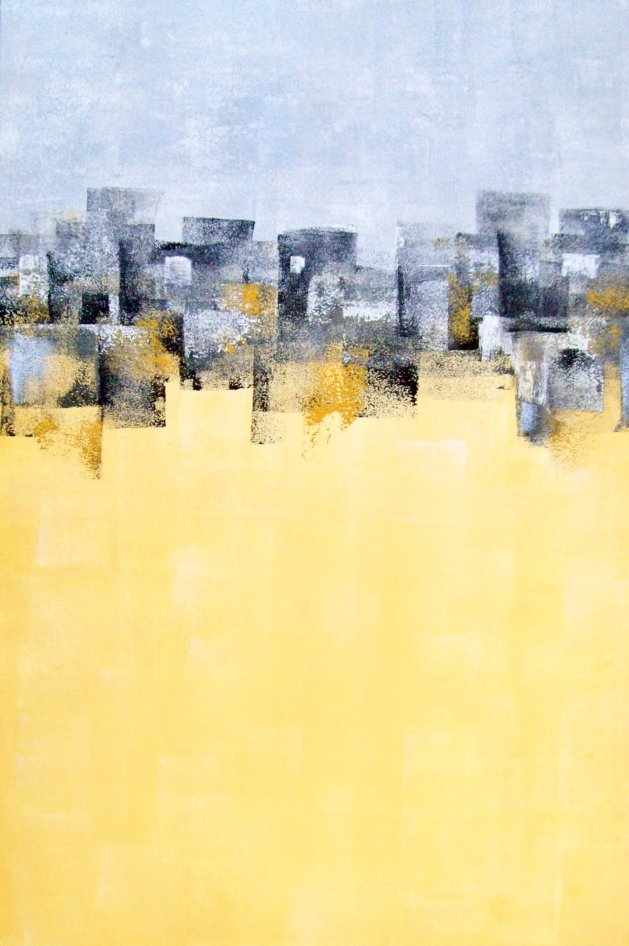 Yellow / Grey Abstract. Original art by Patricia Richards