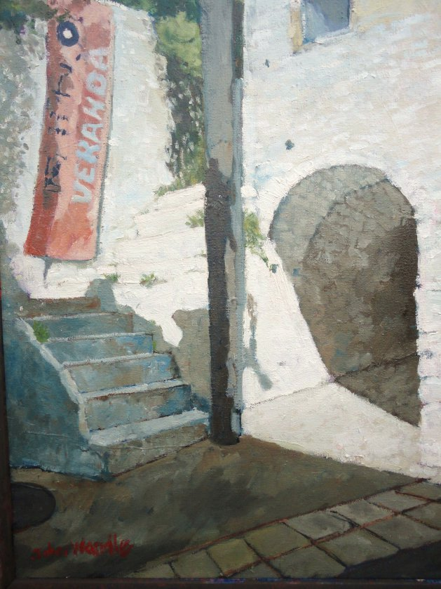 Greek Nightclub Steps. Original art by John Wardle